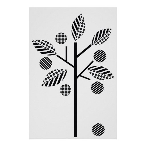 Árbol blanco negro en el poster blanco de la impre