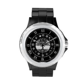 Árbol blanco y negro de las religiones del mundo relojes de pulsera