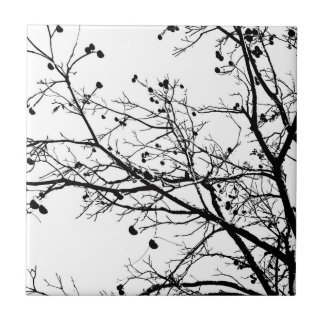 Árbol blanco y negro del invierno azulejo cuadrado pequeño