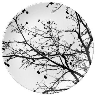 Árbol blanco y negro del invierno platos de cerámica