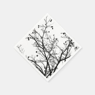 Árbol blanco y negro del invierno servilletas de papel