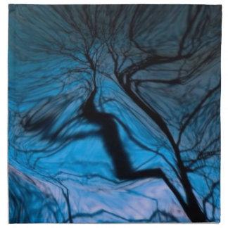 árbol borroso loco azul servilletas imprimidas