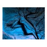árbol borroso loco, azul tarjetas postales