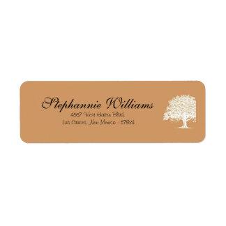 Árbol Brown/etiqueta blanca de la primavera del re Etiquetas De Remite