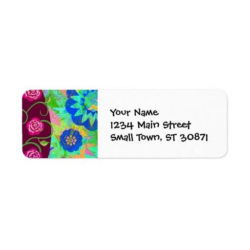 Árbol caprichoso del extracto colorido de los rosa etiquetas de remite