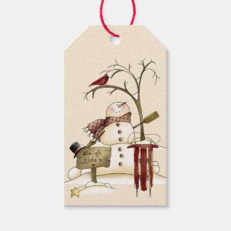 Árbol cardinal de la nieve del trineo del muñeco etiquetas para regalos