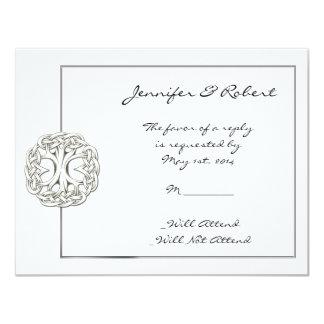 """Árbol céltico de la tarjeta de la respuesta de la invitación 4.25"""" x 5.5"""""""