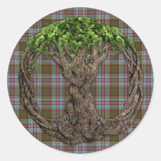 Árbol céltico de la vida y del tartán de Anderson Pegatinas Redondas