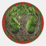 Árbol céltico de la vida y del tartán de MacGregor Etiquetas Redondas