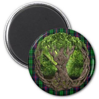 Árbol céltico de la vida y del tartán de Urquhart  Imán Redondo 5 Cm