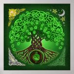 Árbol céltico del círculo de la impresión del póster