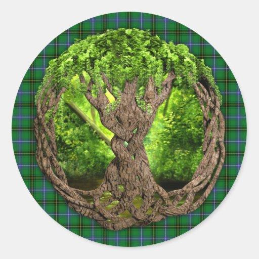 Árbol céltico del clan Henderson de la vida Pegatina Redonda