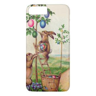 Árbol coloreado del huevo del conejito de pascua funda iPhone 7 plus