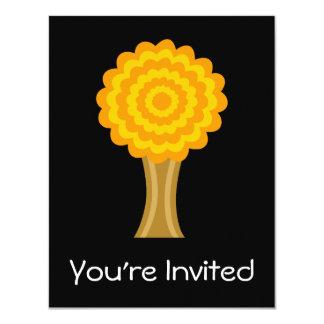 """Árbol. Colores de oro del otoño. Diseño enrrollado Invitación 4.25"""" X 5.5"""""""