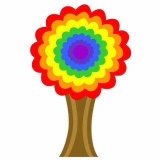 Árbol colorido brillante en colores del arco iris imán fotoescultura