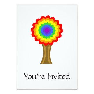 """Árbol colorido brillante en colores del arco iris invitación 5"""" x 7"""""""