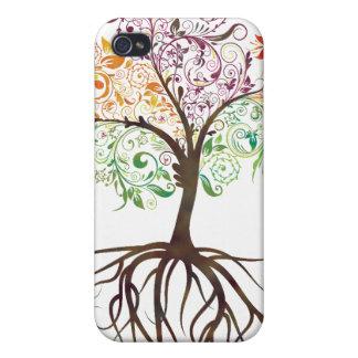 Árbol colorido con el caso de IPhone de las raíces iPhone 4/4S Carcasas
