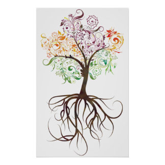 Árbol colorido con el poster de las raíces