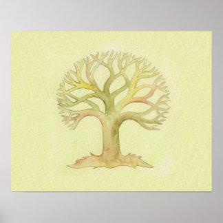Árbol colorido de la impresión del arte de la vida póster