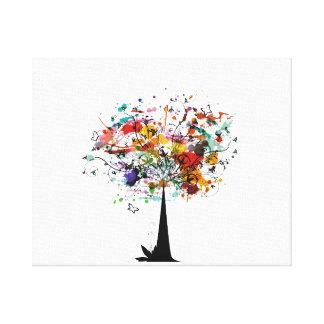 Árbol colorido n butterfly.png de la acuarela lona envuelta para galerías