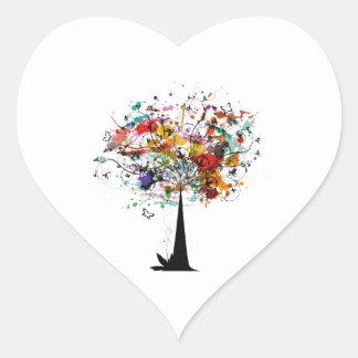Árbol colorido n butterfly.png de la acuarela pegatina en forma de corazón