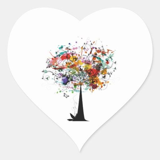 Árbol colorido n butterfly.png de la acuarela calcomanía corazón personalizadas