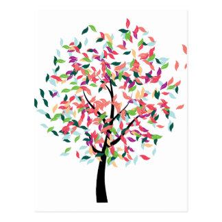 Árbol colorido tarjeta postal