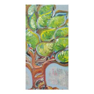 Árbol colorido tarjetas personales con fotos
