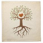Árbol con el corazón servilleta de papel