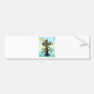 Árbol con la cruz y Sun en lápiz coloreado Etiqueta De Parachoque