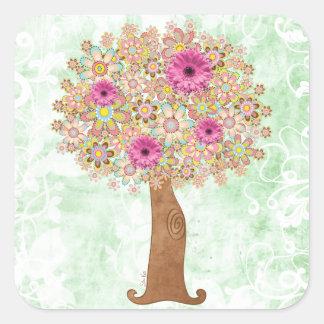 Árbol con las flores rosadas calcomanía cuadrada