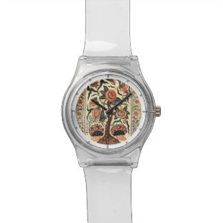 Árbol con las flores y los cuernos de la abundanci relojes de pulsera