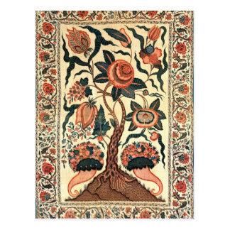 Árbol con las flores y los cuernos de la postal