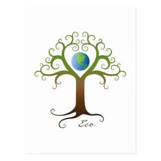 Árbol con las ramas que rodean la tierra del tarjetas postales