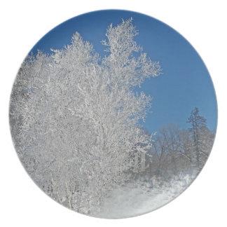 Árbol congelado plato de cena