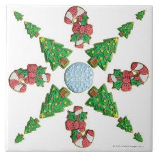 Árbol, copo de nieve y copo de nieve de la galleta teja  ceramica