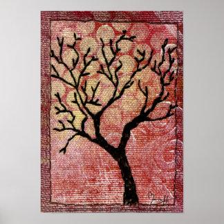 Árbol cosido en la lona pintada - rojo póster