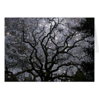 Árbol cósmico - cúmulo de estrellas tarjeta de felicitación
