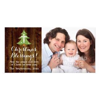 Árbol cruzado del vintage del navidad cristiano tarjetas fotograficas personalizadas