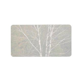 Árbol de abedul blanco abstracto al borde de un etiquetas de dirección