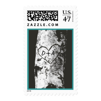 Árbol de abedul con el corazón tallado sello postal