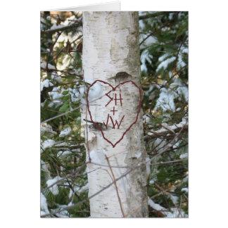 Árbol de abedul tallado personalizado tarjeta de felicitación