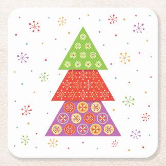 Árbol de abeto decorativo del navidad posavasos de cartón cuadrado