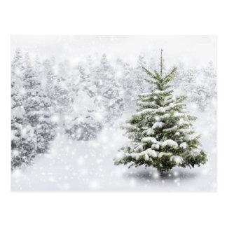 Árbol de abeto en nieve gruesa tarjeta postal