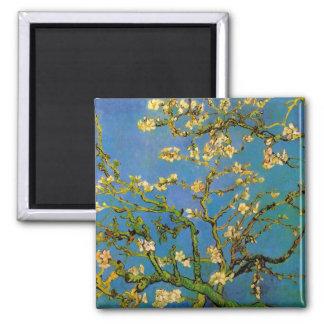 Árbol de almendra floreciente de Van Gogh, flor Imán Cuadrado