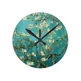 Árbol de almendra floreciente de Van Gogh Reloj De Pared