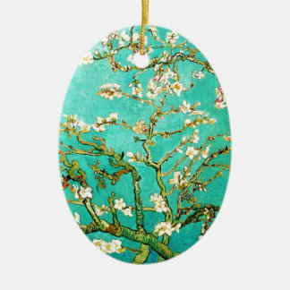 Árbol de almendra floreciente de Vincent van Gogh Adorno Navideño Ovalado De Cerámica