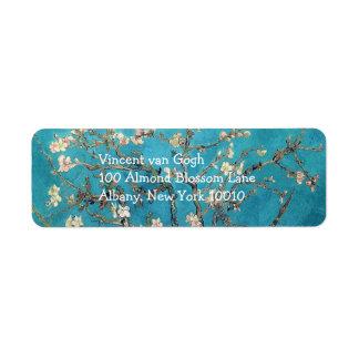Árbol de almendra floreciente de Vincent van Gogh Etiquetas De Remite