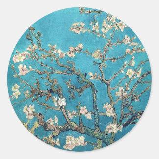 Árbol de almendra floreciente pegatina redonda