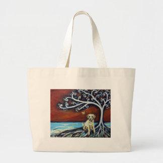 Árbol de amor amarillo de Labrador de la vida Bolsa Tela Grande